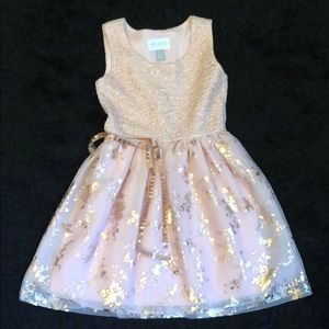 Pink and gold dress little girls xs